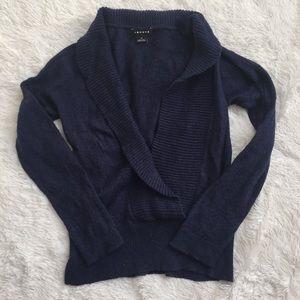 Trouve navy deep vneck sweater